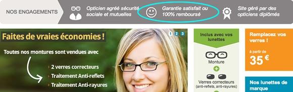 Direct-optic.fr est un très bon exemple de site e-commerce qui utilise cette garantie efficacement