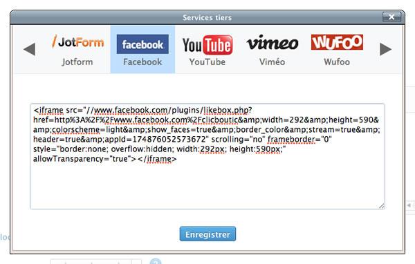 Comment ajouter le widget facebook a votre site clicboutic for Ouvrir fenetre javascript