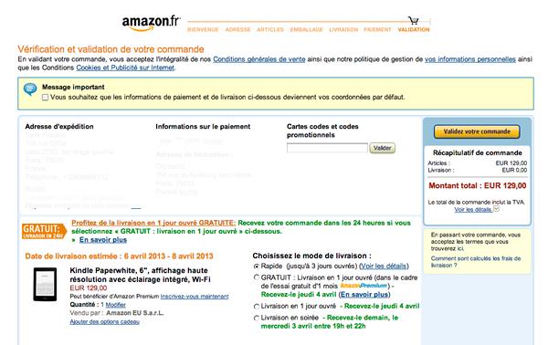 Amazon limite le bruit sur son module de paiement
