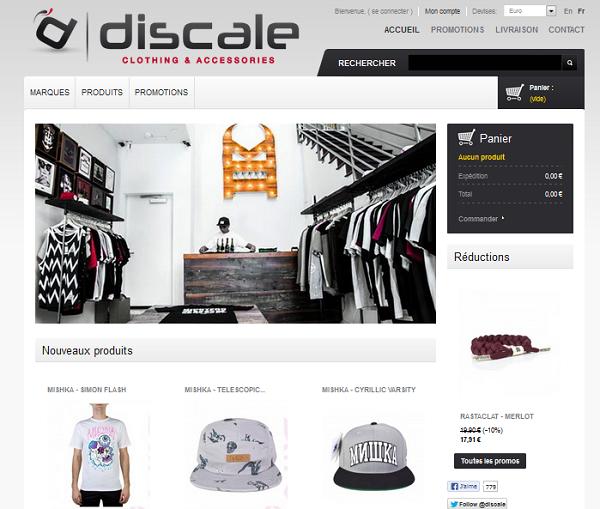 la page d'accueil de Discale