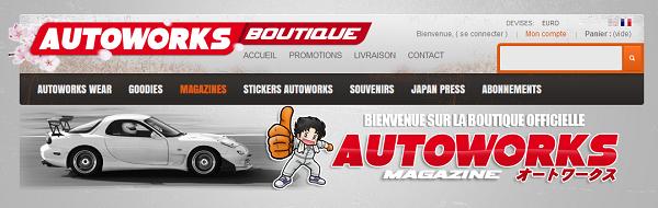 La bannière de la boutique en ligne Autoworks