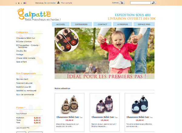 page d'accueil boutique en ligne galipatte