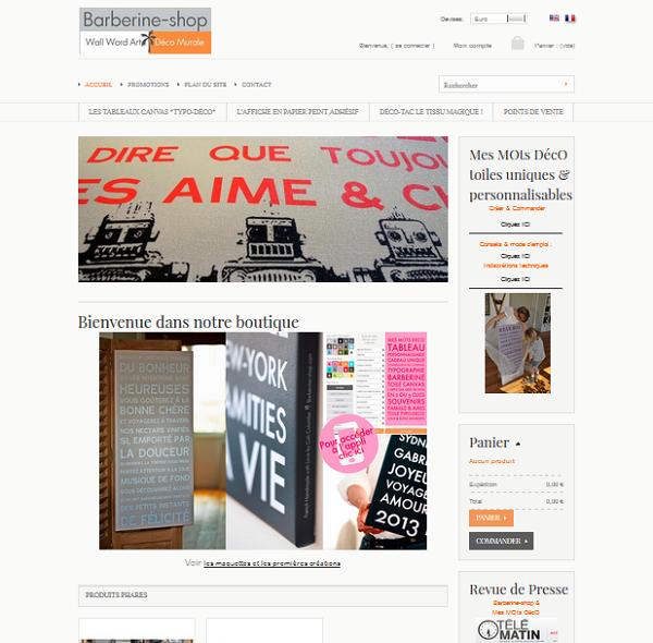 Page d'accueil boutique en ligne