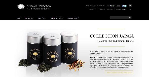 page d'accueil boutique en ligne de thés le théier collection