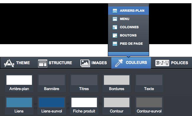 Choix des couleurs d'un template de site e-commerce