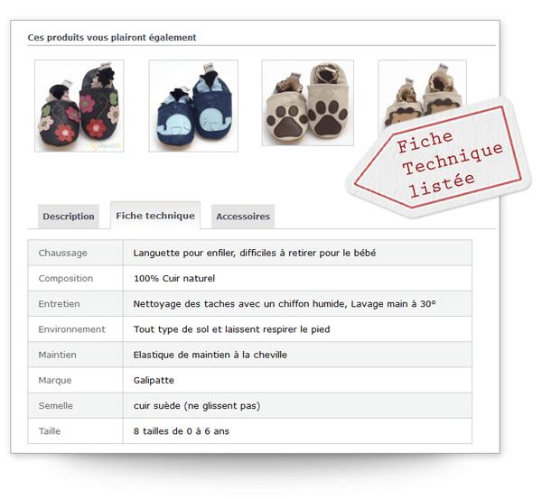Les pages produit de Galipatte sont simples, orientées sur les bénéfices produit, utilisent des images de qualité et un bouton d'achat qui ressort bien.